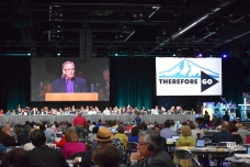 President of the Council of Bishops,Bishop Bruce Ough speaks to the General Conference