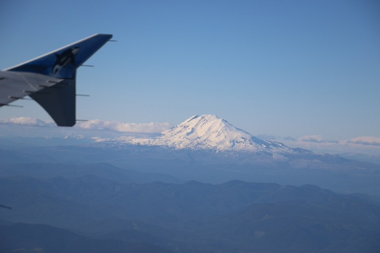 LView of Mt. Hood from inside airplane