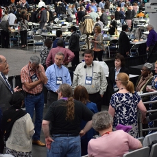 delegates gather