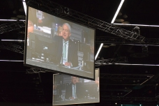 Bishop Bickerton on screen asking for prayer